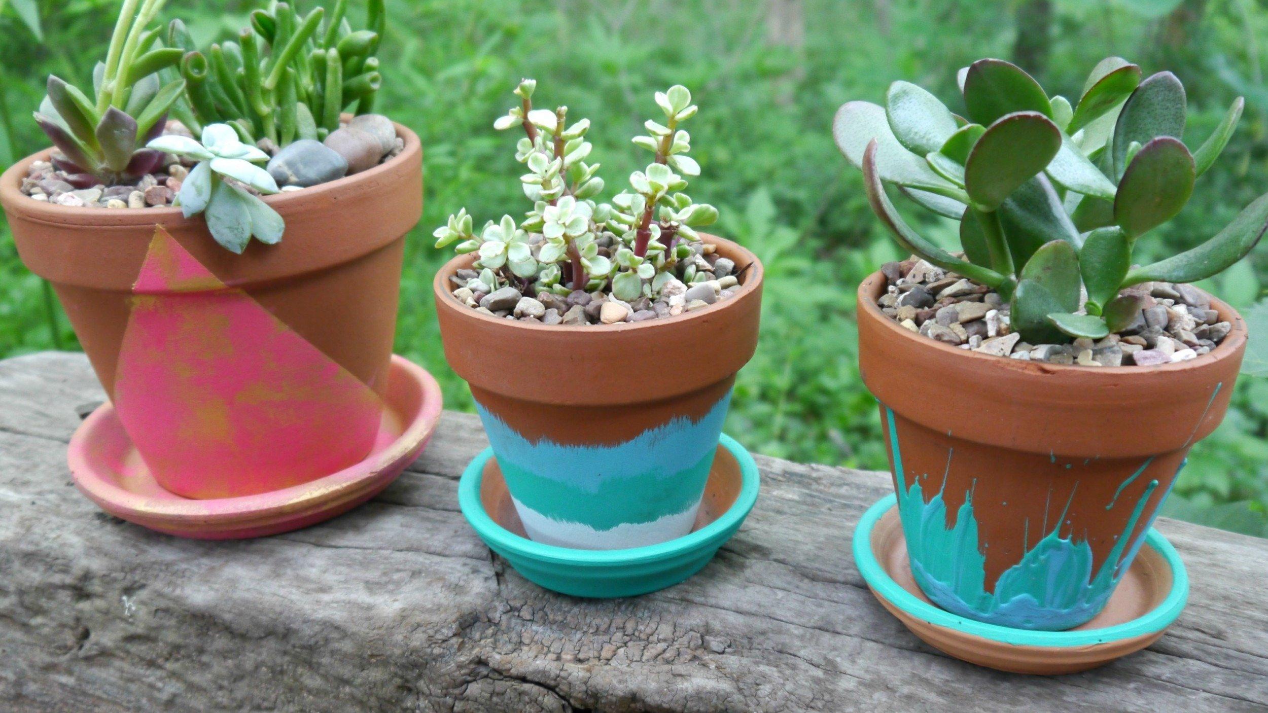 Easy hand painted terracotta pots - Terracotta exterior paint set ...