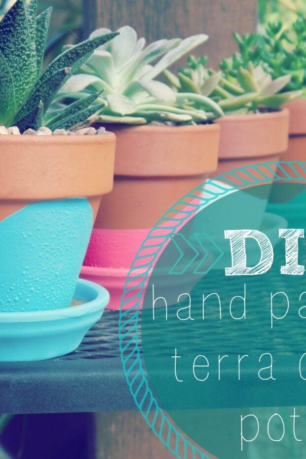 DIY hand painted terra cotta pots