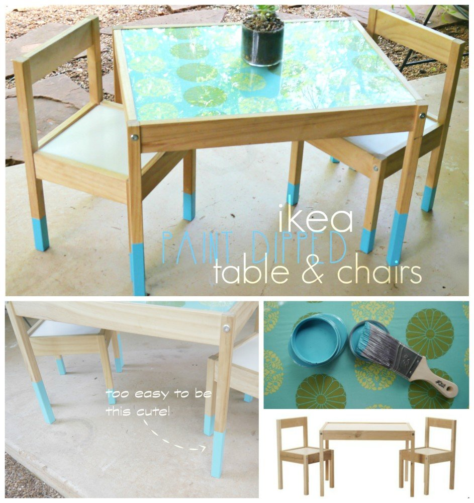 Paint Dipped Children's Table-EASY Ikea Hack!