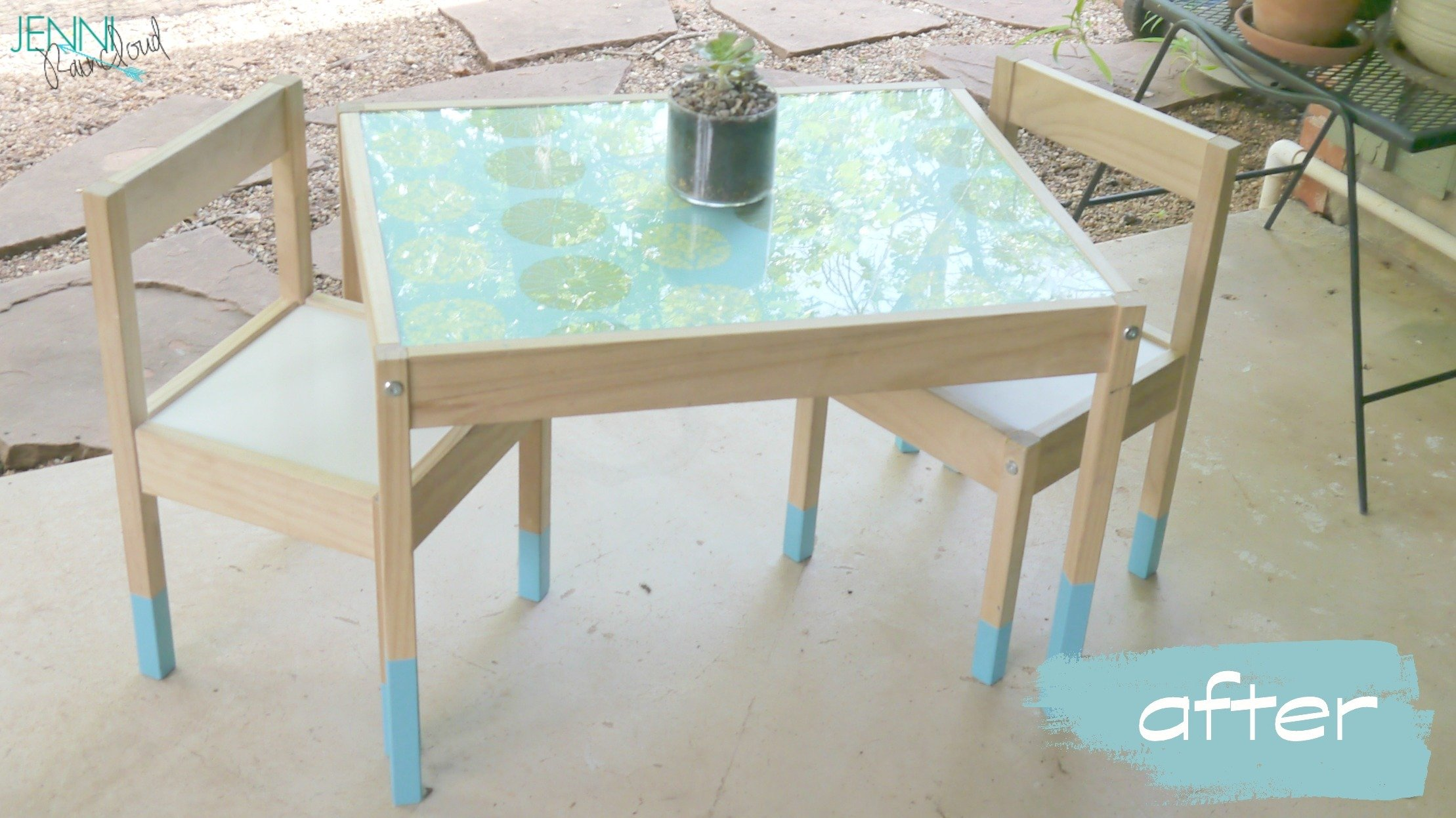 Ikea kids table and chairs - Ikea Hack Latt Ikea Hack Latt Paint Dipped Table 2