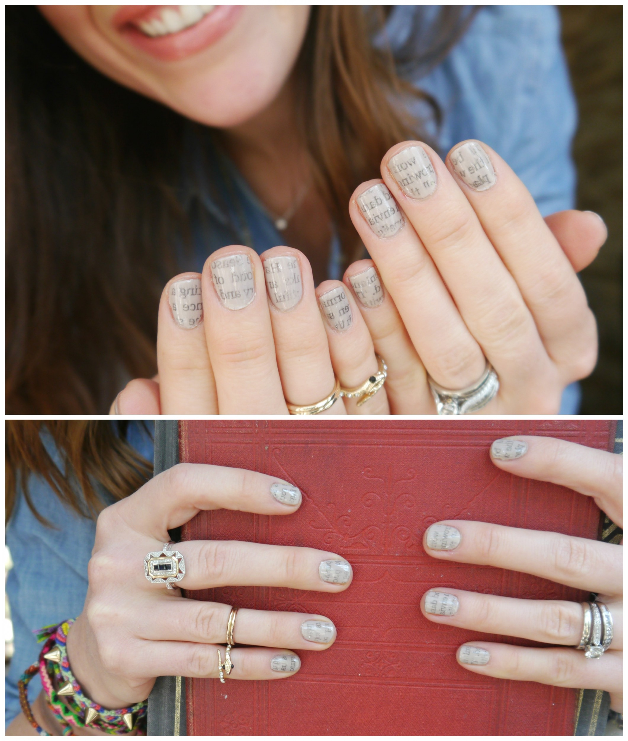 Newspaper Print Manicure