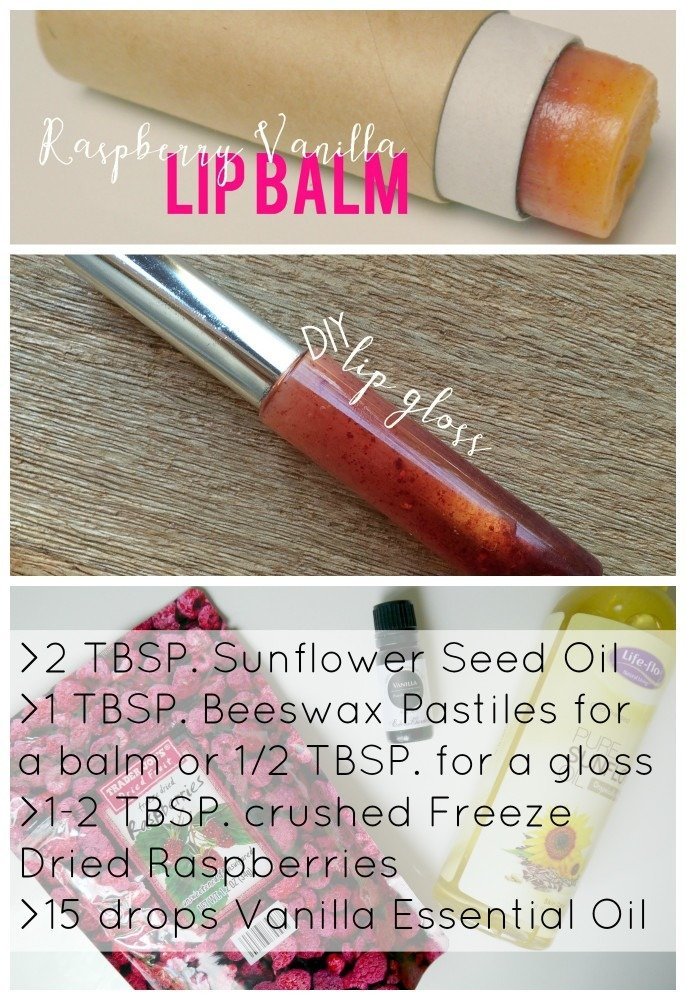 DIY Raspberry lip Balm and Gloss