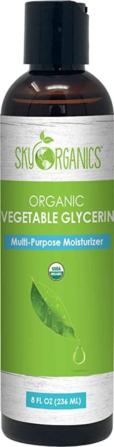 Organic Vegetable Glycerin by Sky Organics (8oz) Non-GMO Kosher USP Grade Hypoallergenic Cold-pre...
