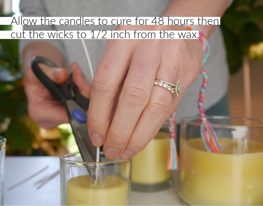How to Make Beeswax Candles cutting the wick